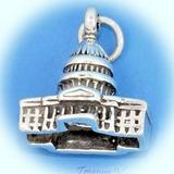 US Capitol Capital Building Washington DC 3D .925 Sterling Silver Charm Pendant Vintage Crafting Pendant Jewelry Making Supplies - DIY for Necklace Bracelet Accessories by CharmingSS