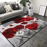 "KasaBlaro Red Poppy Flower Print Area Rug Carpet Contemporary Rugs Living Room Dining Area Rugs Room Rugs Office Rugs Modern Rug 80"" X 58"""