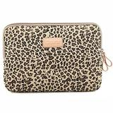 XSKN Canvas Fabric Stylish Leopard's Spots Print Style 7-15 Inch Laptop Sleeve Computer Protective Carrying Case Bag Cover for iPad/MacBook/Dell/HP/Lenovo etc. (Yellow, 15 inch)