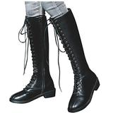 Wide Fit Flat Riding Boots For Women Black Lace-Up High Shoes Strappy Combat Stacked Heel Knee Boot Sunmoot-Shoes