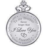 Pocket Watch Personalized Engraved for Brother, Retro Vintage Quartz Roman Numerals Pocket Watch with Chain for Men, Brother Gift Pocket Watch for Birthday Christmas Graduation (Silver)