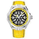 Stuhrling Original Mens Swiss Automatic Watch - Self Winding Mens Dress Watch Mens Yellow Leather Sport Watch Mechanical Skeleton Watches for Men