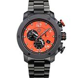 LIV Swiss Watches GX1 Swiss Analog Display Chronograph Casual Watch for Men; 45 mm Stainless Steel with Date Calendar; 660 feet Water-Resistant - The Orange on Bracelet