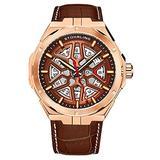 Stuhrling Original Mens Swiss Automatic Watch - Self Winding Mens Dress Watch Mens Brown Leather Wrist Watch Mechanical Skeleton Watches for Men