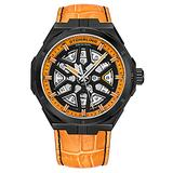 Stuhrling Original Mens Swiss Automatic Watch - Self Winding Mens Dress Watch Mens Orange Leather Wrist Watch Mechanical Skeleton Watches for Men