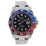 GMT Navy Seal Swiss Men's GMT Watch Black Dial, 316L CASE - RED and Blue Ceramic Bezel, Swiss Quartz Movement, Men's Watch Pro Master Diver Watch, Luminous, Sapphire Glass.