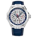Stuhrling Original Mens Swiss Automatic Watch - Self Winding Mens Dress Watch Mens Blue Leather Wrist Watch Mechanical Skeleton Watches for Men