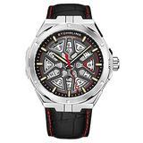 Stuhrling Original Mens Swiss Automatic Watch - Self Winding Mens Dress Watch Mens Black Leather Wrist Watch Mechanical Skeleton Watches for Men