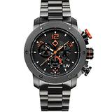 LIV Swiss Watches GX1 Swiss Analog Display Chronograph Casual Watch for Men; 45 mm Stainless Steel with Date Calendar; 660 feet Water-Resistant - Signature Orange on Bracelet