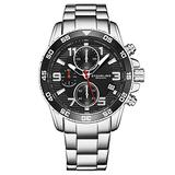 Stuhrling Original Mens Watches - Chronograph Black Wrist Watch with Date and Stainless Steel Link Bracelet - Sport Watches for Men with Tachymeter and Screw Down Crown for 330 Ft. of Water Resista