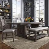 Liberty Furniture Industries Artisan Prairie Opt 6 Piece Trestle Table Set, W40 x D96 x H30, Dark Brown