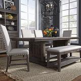 Liberty Furniture Industries Artisan Prairie 6 Piece Trestle Table Set, W40 x D96 x H30, Dark Brown