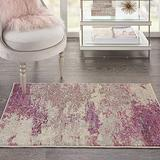 """Nourison Sublime Modern Abstract Area Rug 2'2"""" x 3'9"""" (2x4) Ivory/Pink, 2 Feet 2 Inch x 3 Feet 9 Inch, 3 Feet"""