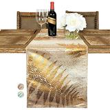 """Custom Made Metallic Yarn Gold Green Table Runner – 14 x 108 Inch Gold Table Runner for Dining Table - Modern Foil Leaf Design – Ideal for Holidays, Home Décor (108"""" Table Runner, Gold/Gold)"""