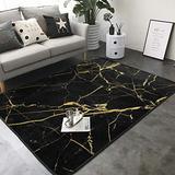 "KasaBlaro Black Gold Marble Print Area Rug Carpet Contemporary Rugs Living Room Dining Area Rugs Room Rugs Office Rugs Modern Rug 80"" X 58"""