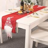 ZOESOE Christmas Table Runner, Santa Gnome Table Runner for Christmas Holidays Decorations, Table Linens Table Flag for Xmas Dinner Party (Red)