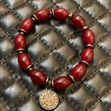 Anthropologie Jewelry   Anthropologie Red Glads Beaded Stretch Bracelet   Color: Red/Silver   Size: Os