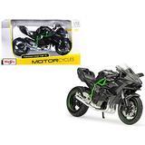 StarSun Depot New Kawasaki Ninja H2 R Black and Carbon 1/12 Diecast Motorcycle Model by Maisto