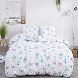 CLOTHKNOW Cactus Alpaca Duvet Cover Sets Twin Cotton Girls Bedding Sets Teens Kids Bedding Sets Cartoon Animal Plant Bedding Cover Pattern Reversible 3Pcs Bedding Cover Sets with Zipper Closure