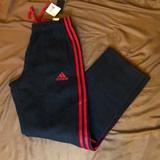 Adidas Pants | Adidas Essential Cotton Sweatpants | Color: Black/Red | Size: S