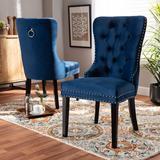 Baxton Studio Remy Modern Transitional Navy Blue Velvet Fabric Espresso Finished 2-PC Wood Dining Chair Set Set - Wholesale Interiors WS-F458-Navy Blue Velvet/Espresso-DC