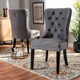 Baxton Studio Remy Modern Transitional Grey Velvet Fabric Espresso Finished 2-PC Wood Dining Chair Set Set - Wholesale Interiors WS-F458-Grey Velvet/Espresso-DC