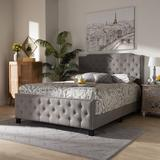 Baxton Studio Marion Modern Transitional Grey Fabric Button Tufted Full Size Panel Bed - Wholesale Interiors Marion-Grey-Full