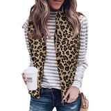 Angashion Women's Warm Sherpa Fleece Zip Up Reversible Vest Sleeveless Lightweight Jacket Outwear with Pockets #Leopard-Grey S