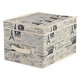 Home Basics Paris Collection Non-Woven Large Storage and Organization Box, Natural, (Jumbo Box)