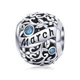 Birthstone Charms for Charms Bracelet- 925 Sterling Silver Bead Flower Openwork Charms, Happy Birthday Charms for Bracelet and Necklace (March Birthstone)