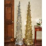 Slender Tinsel Christmas Tree , Silver