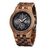 Wooden Watches for Men, CZOKA Natural Black Walut/Pterocarpus Soyauxii Japan Quartz Chronograph Watch with Adjustable Strap, Three Sub-dial Display Military Sports Casual (Black Walnut)
