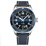 Stuhrling Original Mens Watch -Blue Leather Dress Watches Analog Sports Watch with Date Leather Strap Aviation Watch Wrist Watches for Men Collection