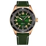 Stuhrling Original Mens Watch -Green Leather Dress Watches Analog Sports Watch with Date Leather Strap Aviation Watch Wrist Watches for Men Collection