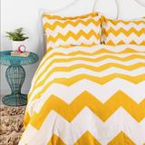 Urban Outfitters Bedding | *Urban Outfitters Zig Zag Yellow Duvet Cover Shams | Color: Cream/Yellow | Size: Full