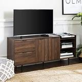"""Walker Edison Modern Wood Stand with Cabinet Doors and Drawers 65"""" Flat Screen Universal TV Console Living Room Storage Shelves Entertainment Center, 58 Inch, Dark Walnut"""