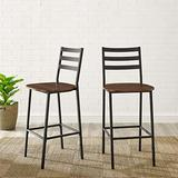Walker Edison Ladder Back Industrial Farmhouse Counter-Stool Armless Dining Room Chairs Kitchen 26 Inch, Dark Walnut Brown