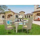 East West Furniture GUOS503A 5Pc Outdoor Natural Color Wicker Dining Set Includes a Patio Table and 4 Balcony Backyard Armchair with Linen Fabric Cushion