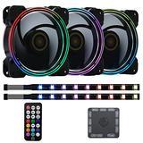 DS 120mm Wire Rainbow RGB Case Fans for PC Cases, Full Tower, Middle Tower (3pcs LED Fans and 2pcs LED Strip, RF Controller, D Series)