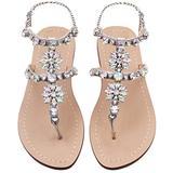 JF shoes Women's Crystal with Rhinestone Bohemia Flip Flops Silver, 9.5