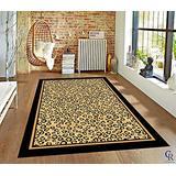 "Champion Rugs Brown Checkered Cheetah Rug Animal Print Rectangle Leopard Rug Brown Black Cream (5' 3"" X 7' 5"")"