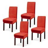Argstar 2,4,6 Pack Dining Rooms Chairs Covers Velvet, Velvet Dining Chairs Slipcover, Parson Chair Slipcover Velvet, Armless Chair Cover for Dining Room, Kitchen Chair Cover Set of 4, Orange Red