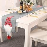 ZOESOE Christmas Table Runner, Santa Gnome Table Runner for Christmas Holidays Decorations, Table Linens Table Flag for Xmas Dinner Party (Grey)