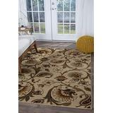 Fairfield Beige 7x10 Rectangle Area Rug for Living, Bedroom, or Dining Room - Transitional, Floral