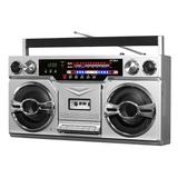 Victrola 1980's Bluetooth Boombox with Cassette Player & AM/FM Radio, Silver
