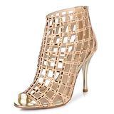 Littleboutique Women Embellished Cutout High Heel Bootie Rhinestone Sandal Heels Dress Sandals Gold 4 in 5