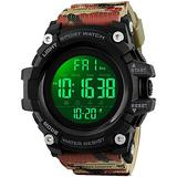Big Dial Digital Watch S Shock Men Military Army Watch Water Resistant LED Sports Watches (Large, Camouflage Red)