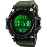 Big Dial Digital Watch S Shock Men Military Army Watch Water Resistant LED Sports Watches (Large, Army Green)