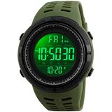 Big Dial Digital Watch S Shock Men Military Army Watch Water Resistant LED Sports Watches (Army Green)