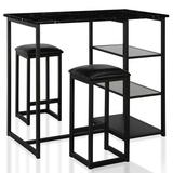 CosmoLiving by Cosmopolitan Emelie 3 Piece Counter Height Dining SetWood/Metal/Upholstered Chairs in Black/Brown, Size 36.0 H x 24.0 W x 42.0 D in
